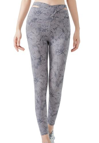 Sunnydaysweety grey Floral High Waist Yoga Sports Tights A21031706GY 61904AA97082E1GS_1