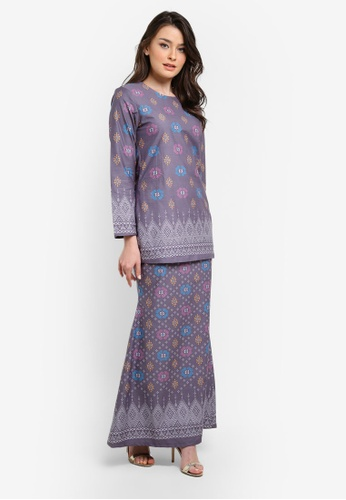 Butik Sireh Pinang grey Zahira Short Cotton Modern Kurung with Songket Print BU003AA0SF2NMY_1