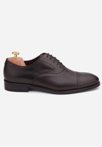 Earnest & Collective brown Stratford II Espresso Brogued Cap Toe Oxford 1F9D5SHBD4A539GS_1