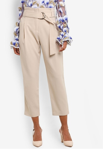 bYSI beige Belted Crepe Trousers BY867AA0RNO7MY_1