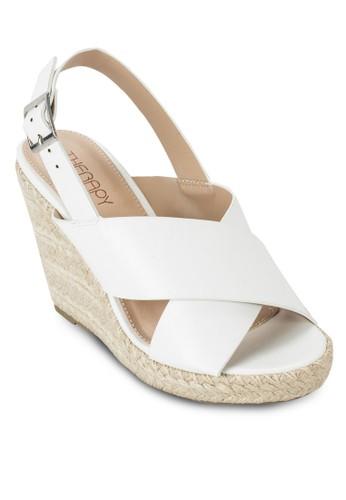 Portia 交叉繞踝麻編楔型zalora 順豐鞋, 女鞋, 鞋