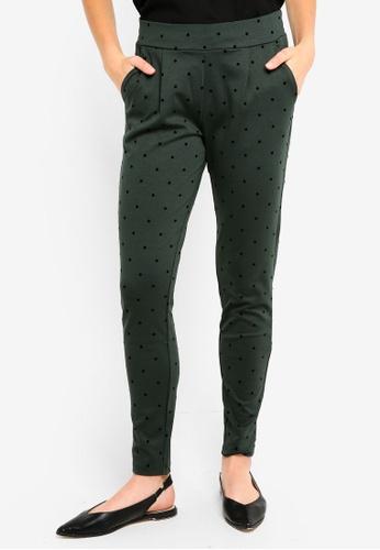 ICHI green Kate Dot Pants 36A70AADFE4B35GS_1
