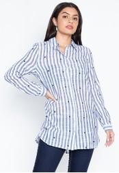 DEBENHAMS blue Principles - Pc Ls Spot Embroidered Stripe Shirt 20F99AA0FA2486GS_1