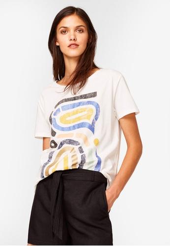 ESPRIT white Abstract Graphic Short Sleeve T-Shirt 4837BAA3D94352GS_1
