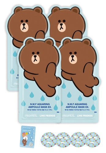 Mediheal blue Mediheal Line Friends N.M.F. Aquaring Ampoule Mask Pack [4 Sheets + 1 Packets of Synergy Masks] 802A2BEE9EC0BDGS_1