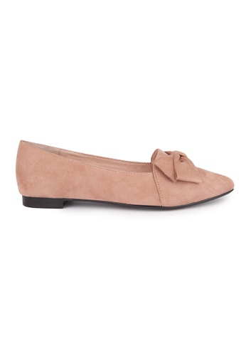 MAUD FRIZON pink Faux Suede Point Toe Loafers With Bow 67472SH68F9250GS_1