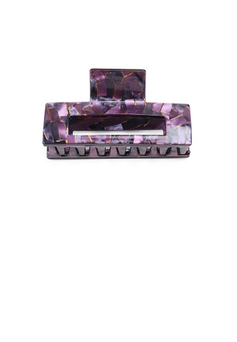 Glamorousky purple Simple Fashion Purple Pattern Geometric Hair Claw 94A40ACDF3997BGS_1