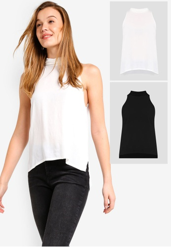 7c9b4207203f03 ZALORA BASICS black and white 2 Pack Basic High Collar Halter Neck Top  ZA511AA0WLCWMY 1