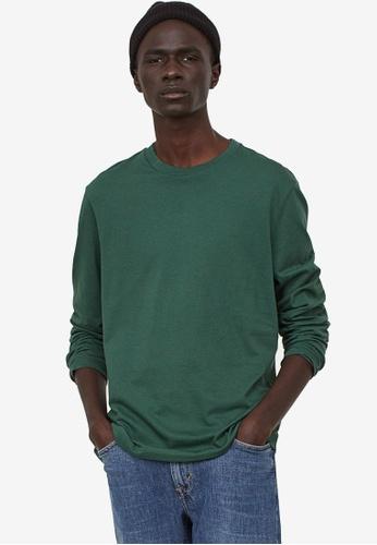 H&M green Long-Sleeved Top Regular Fit 345E8AAE449A2CGS_1