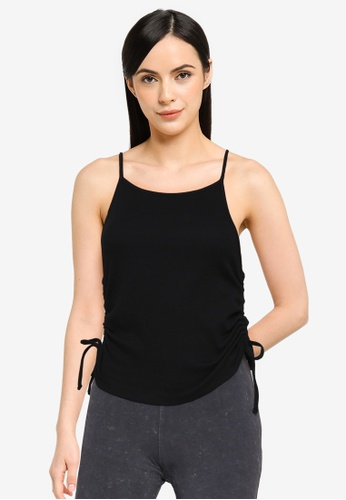 Noisy May black Stine Sleeveless Ruching Top 1CCFCAAF9CC0A4GS_1