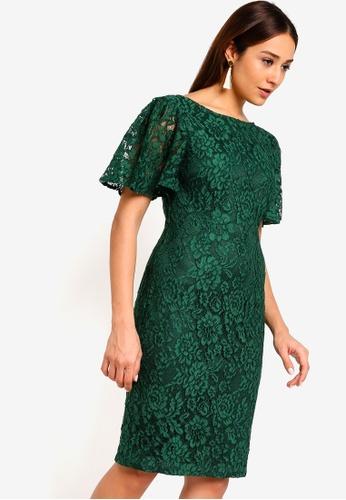 ZALORA green Flare Sleeves Lace Sheath Dress 3C208AADE1C89FGS_1