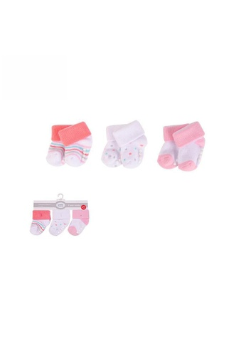 Little Kooma white and pink New Born Baby Terry Socks 3 Pack 00936CH Coral Dots 7C632KAACFEDE1GS_1