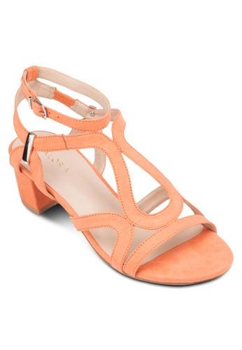 多帶造型粗高跟涼鞋zalora鞋, 女鞋, 細帶高跟鞋