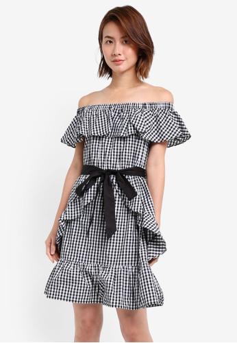 ZALORA black Off Shoulder Ruffle Details Dress With Belt 8F3AFAAB2FC242GS_1