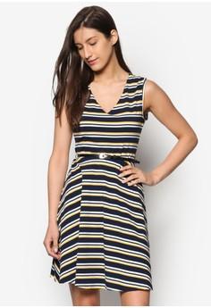 條紋V 領洋裝