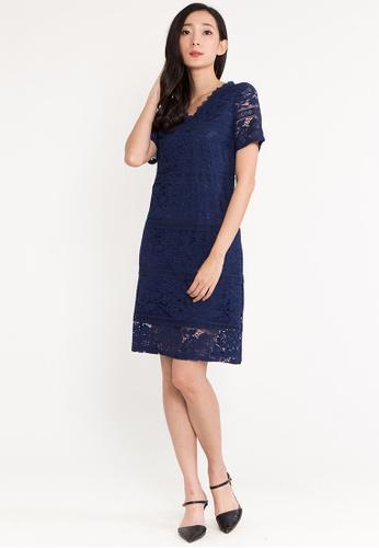 BEBEBUTTERFLY blue BebeButterfly V Neckline Short Sleeve Regular Fit Evening Dinner Dress DEB0EAAEAD1116GS_1
