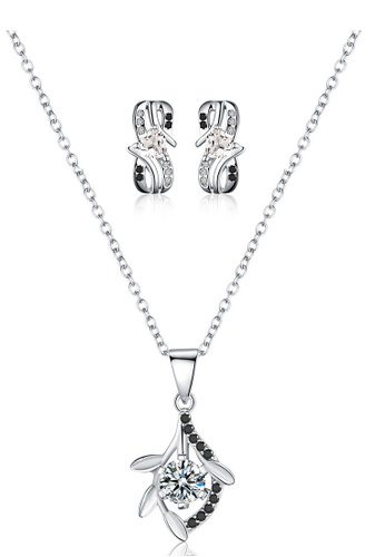 A-Excellence white Premium Elegant White Sliver Necklace Earring Set AA08FAC8DB0517GS_1