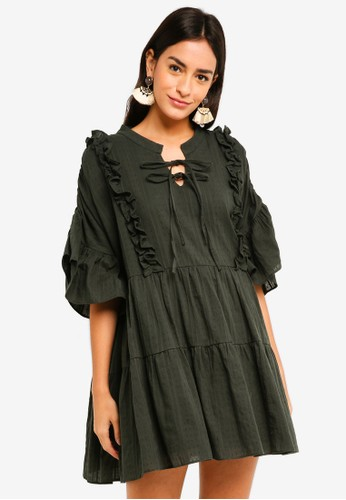 GHOSPELL green Rid Of You Smock Dress F4D15AAA4C3F30GS_1