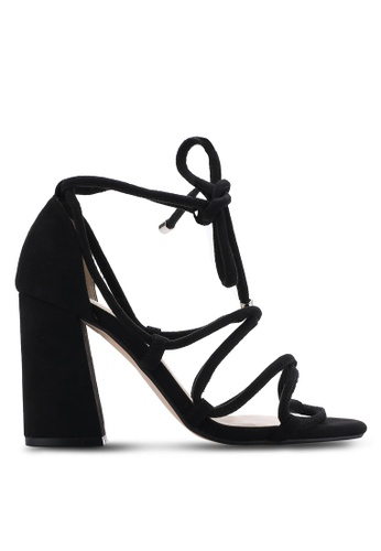 ZALORA 黑色 露趾繞踝粗跟鞋 F9310SHBD9514CGS_1