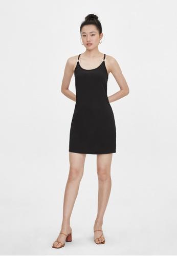 Pomelo black Cross Back Oval Neck Dress - Black DC09CAA9FF12D7GS_1
