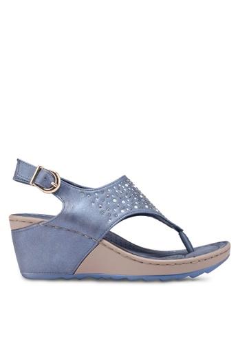Bata blue Embellished Wedges 94280SH0057D56GS_1