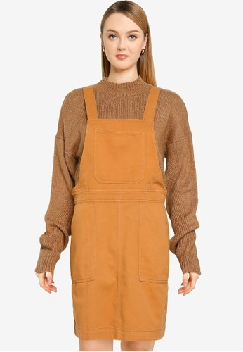 Noisy May brown Sophie Dungaree Dress 79E17AA6133560GS_1