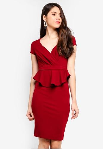 Goddiva red Peplum Short Sleeve Midi Dress E042DAABD7E205GS_1