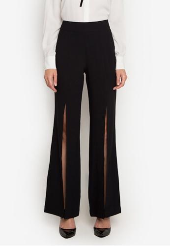 NOBASIC black Black Slit Pants 4E902AAEEAAD6BGS_1