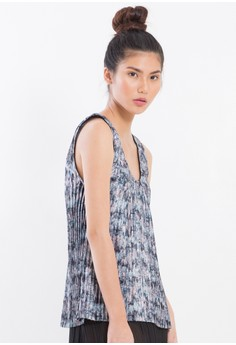 [PRE-ORDER] Digital Printed and pleated Silk Charmeuse tank top