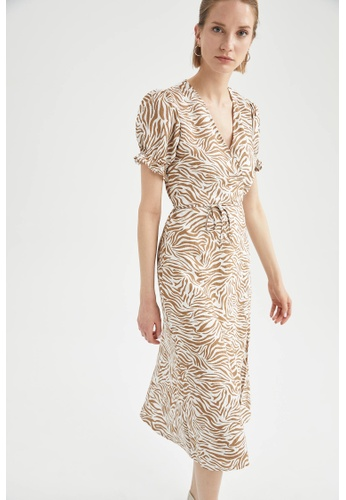 DeFacto brown Short Sleeve Midi Dress 10814AAC269B58GS_1
