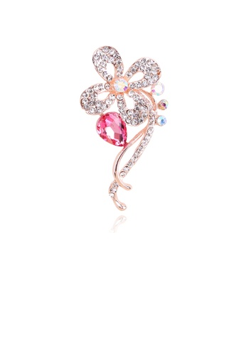 Glamorousky white Fashion and Elegant Plated Rose Gold Pink Flower Brooch with Cubic Zirconia 1A331ACE9ED38AGS_1