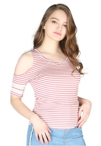 London Rag pink Mariah Stripe Cold Shoulder Top 6498BAA5452A62GS_1