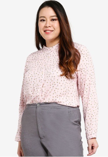 Ex'otico pink Long Sleeve Blouse B9D93AAD3010D8GS_1