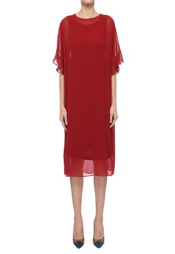CK CALVIN KLEIN red Light Drape Jersey Poly Georgette Dress DD338AA55A1C84GS_1