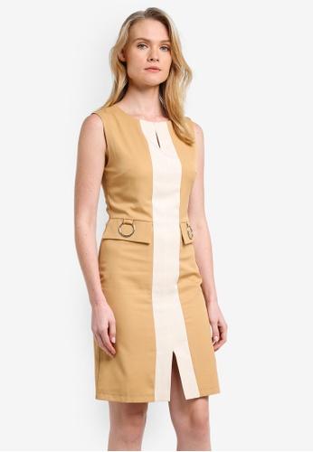 ZALORA beige Colourblocked Pencil Dress D011DZZ08C1A9DGS_1
