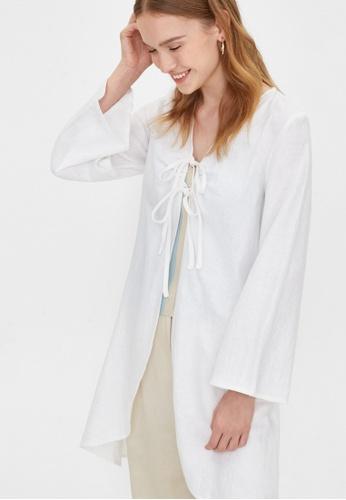 Pomelo white Purpose Bow Front Tie Kimono - White 01DA5AA05248F9GS_1