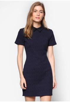 【ZALORA】 Collection 鋸齒紋襯衫領短袖鉛筆連身裙