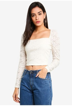 c077090696a79 MISSGUIDED. Puff Sleeve Milk Maid Lace Crop Top