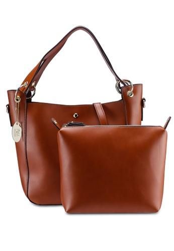 Perllini Mel brown Faux Leather Bag-In-Bag Single Handle Bag  C62BBAC72654A8GS 1 a9f786fd87e76