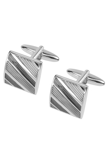 CUFF IT multi Grey Tonal Diagonal Stripes Cufflinks CU047AC2UXSVHK_1