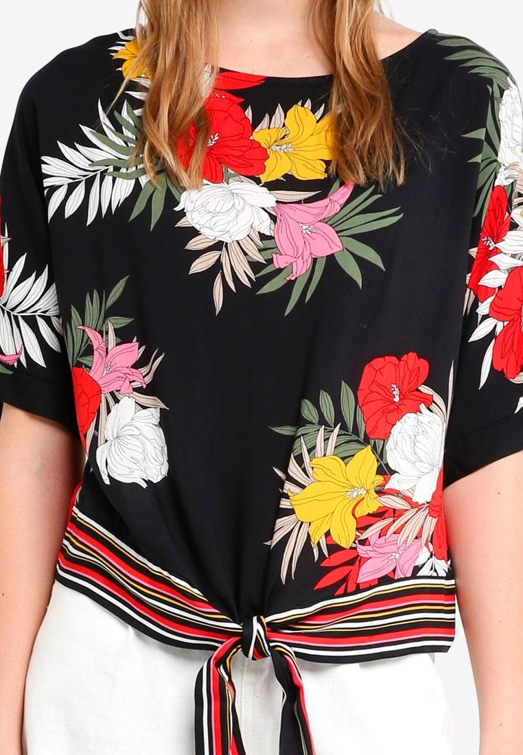Hem Multi Dorothy Floral Tee Stripe Perkins Bright Tie wBqnxqRa