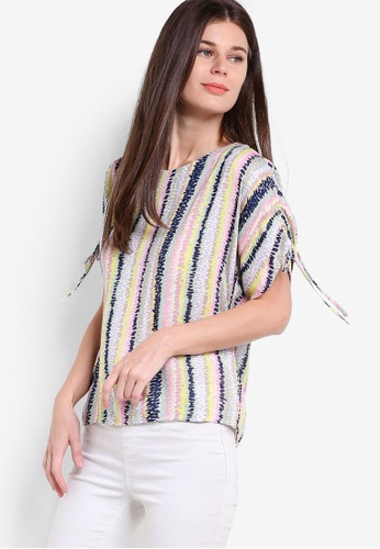 WAREHOUSE pink and multi Dash Stripe Ruched Sleeve Top WA653AA73GWCMY_1
