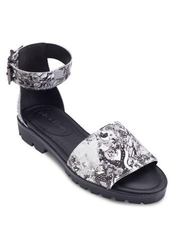 Zinnia 印esprit暢貨中心花包跟繞踝涼鞋, 女鞋, 鞋