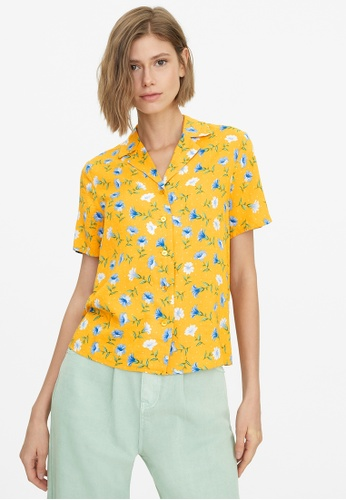 Pomelo yellow Floral Print Buttoned Shirt - Yellow A0E55AA0C17920GS_1