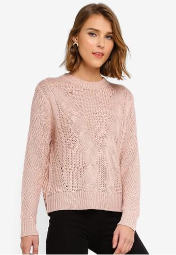 JACQUELINE DE YONG pink Menen Long Sleeve O-Neck Pullover Knit 1D1C6AAD0F9BF9GS_1