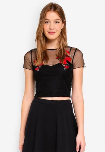 Hollister black Embroidered Mesh tee 4A28BAA6B99855GS_1