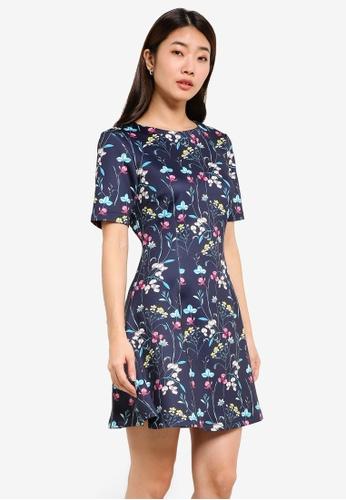 ZALORA navy Floral Fit & Flare Dress E7B29AAB59E3BAGS_1