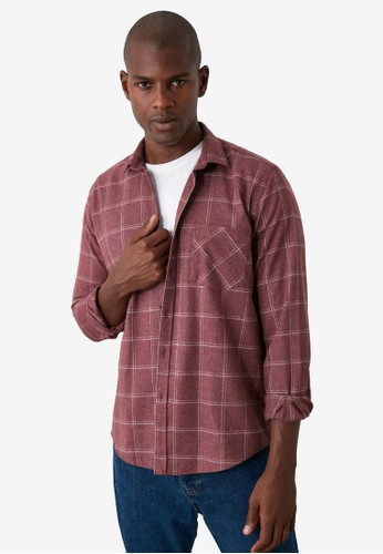 Trendyol red Single Pocket Plaid Shirt 3007AAA46BD54DGS_1