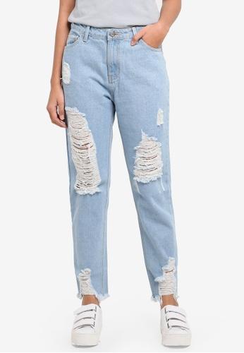 Penshoppe blue High Waist Jeans In Light Wash 796EAAA20B05EDGS_1