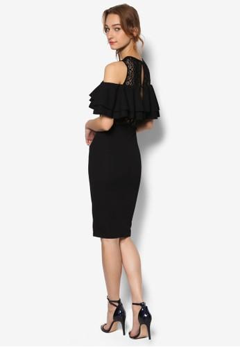 Lola 雙層荷葉飾蕾絲esprit台灣outlet拼接連身裙, 服飾, 洋裝
